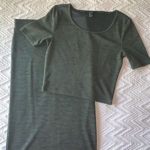olive set. forever 21. top size S. skirt size M